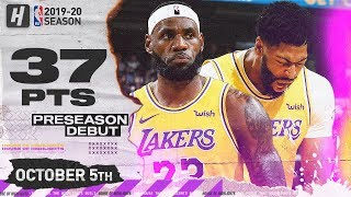Anthony Davis & LeBron James IMPRESSIVE Lakers Debut Highlights vs Warriors | October 5, 2019