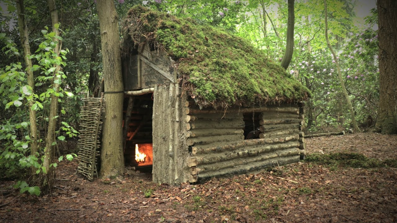 Off Grid Log Cabin With Moss Roof Cruck Frame Shelter