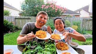 Vợ chồng cùng làm BÁNH TÉP ăn với rau sống tự trồng ngay tại vườn thật là vui và ngon #162