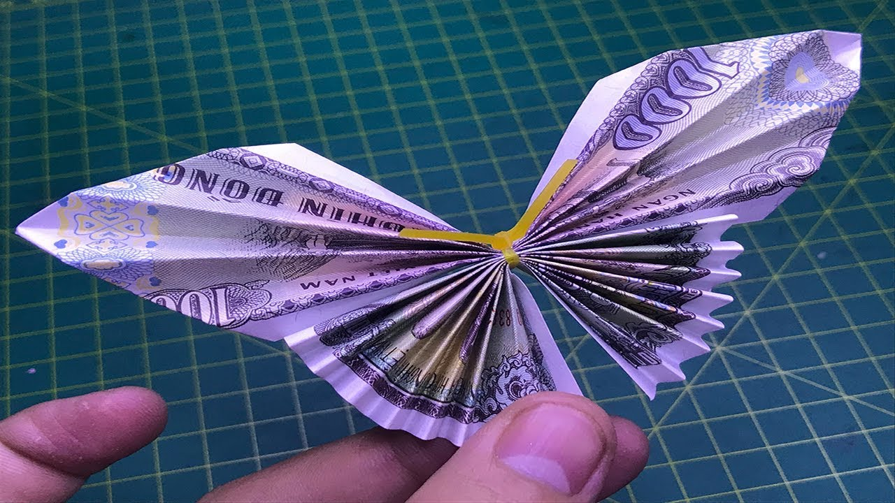 xếp tiền giấy con bướm dễ origami money butterfly easy