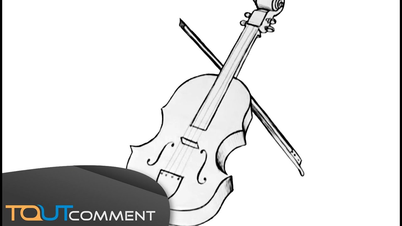 3d Dessin Facile Draw A Violin Dessiner Un Violon Facilement Youtube