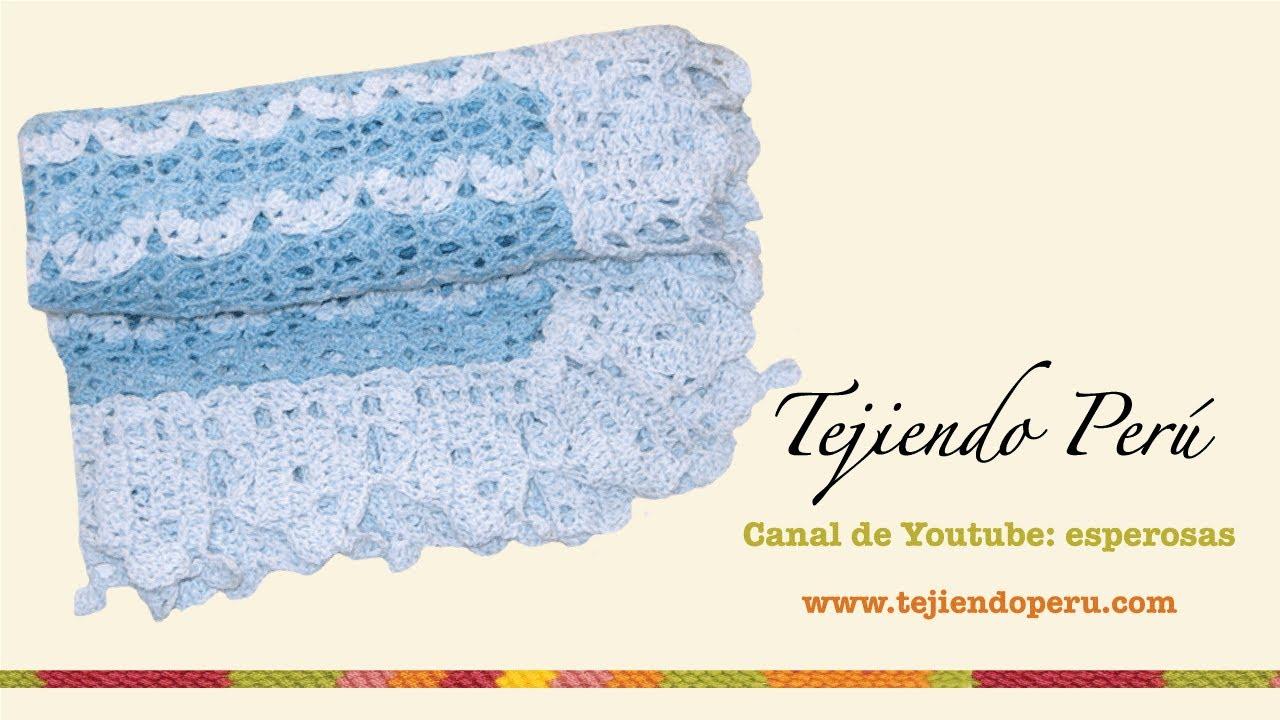 Manta o cobija con borde para bebés tejida a crochet - YouTube