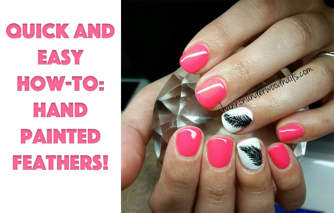 Quick and Easy Nail Art Tutorial | Feathers - YouTube