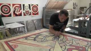 """Shepard Fairey: Printing """"Harmony & Discord"""" at Pace Prints"""