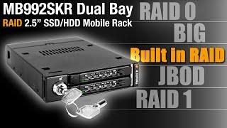 "ToughArmor MB992SKR-B Full Metal Dual Bay RAID 2.5"" SATA HDD & SSD Mobile Rack for 3.5"
