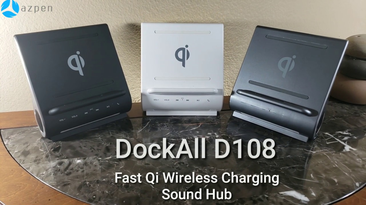 Azpen D108 - FAST 10W Qi Wireless Charging Sound Hub