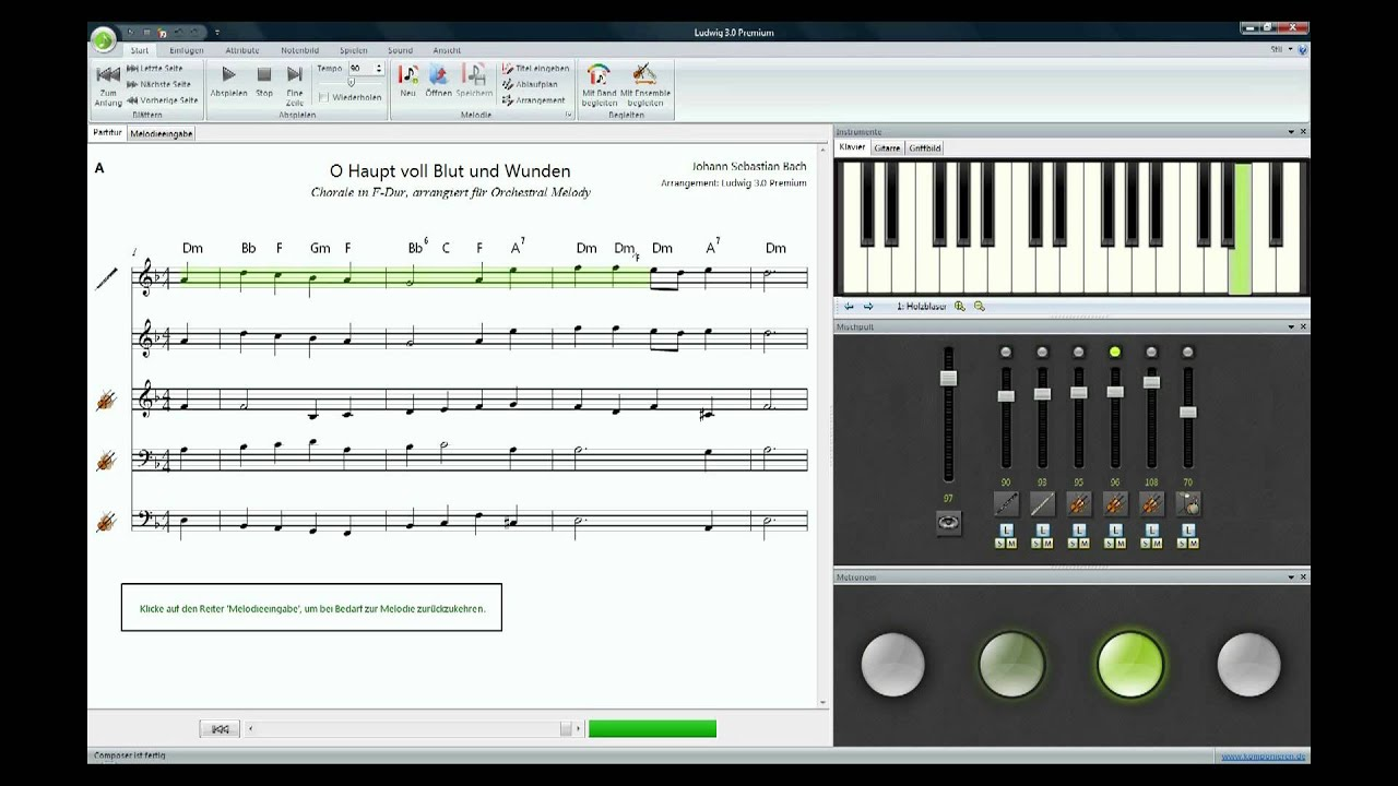 Music Software Ludwig: Arranging