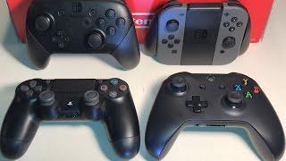 Switch Pro Controller vs DualShock 4 V2 vs Xbox One V3 vs Joy-Con Grip - ULTIMATE COMPARISON