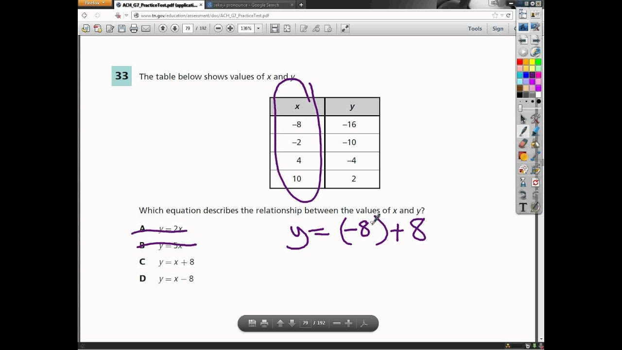 Question 33 - 7th Grade- TCAP Math Practice Test - YouTube