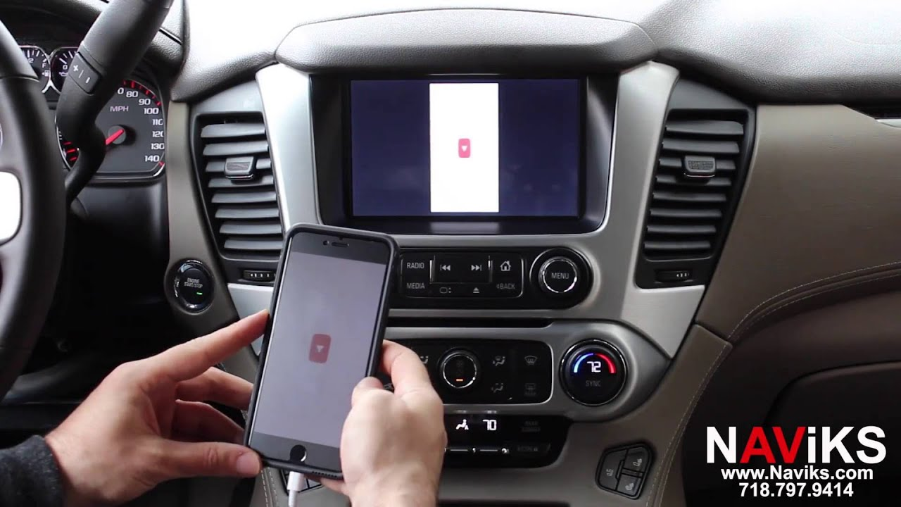 2015 GMC Yukon NAViKS HDMI Video Interface Add: Rear & Front Camera, Smartphone iPhone Wired ...