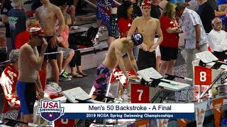 Men's 50y Back A Final | 2019 NCSA Spring Swimming Champs