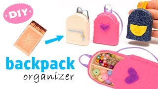 Diy Miniature 🎒 Backpack 🎒 Organizer With Matchbox | Back to school | Art IDEA