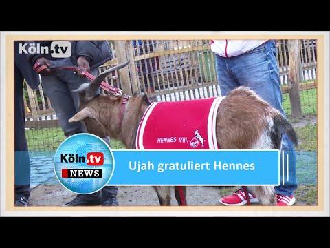 Anthony Ujah gratuliert Geißbock Hennes zum Geburtstag
