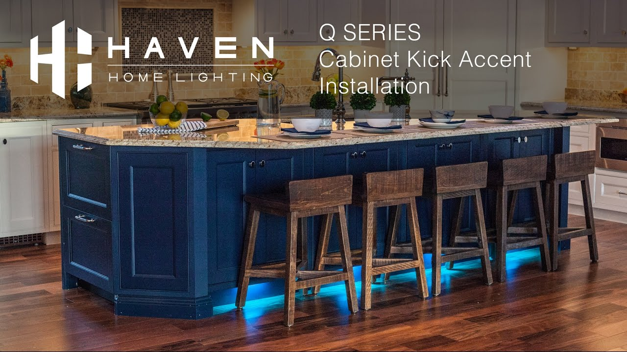 full color cabinet kick accent lights installation haven lighting