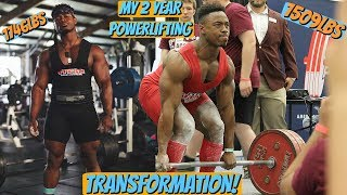 My 2 Year Powerlifting Transformation | 1509LB Total To 1746LBS