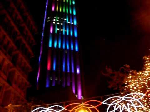 Christmas lights, Bogotá's Colpatria Building.MOV