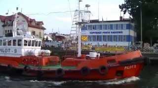 Duży statek handlowy SCANLARK w porcie w Darłówku, 29.07.14