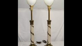 Pair Of Vintage 1950's Antique Stiffel Torchiere Brass Table Lamps With Glass Diffuser