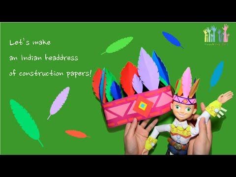 Kids Crafts 아동미술 : Let's Make An Indian Headdress Of Construction Paper! + Kids Art 인디안머리띠를 만들어보아요!