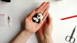Видео курс по вышивке гладью - как вышить брошь панда?