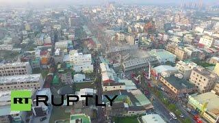 Drone shows devastating impact of Tainan earthquake