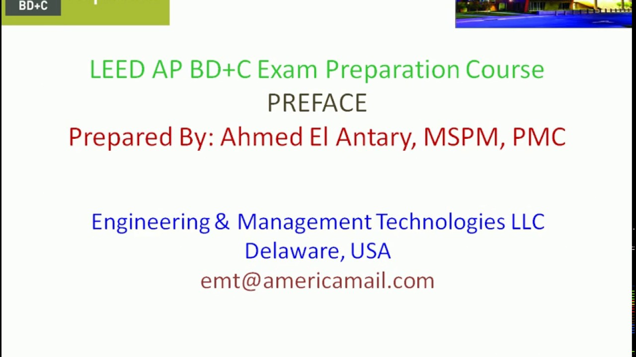 Leed V4 Ap Bdc Nc Preface Lecture 1 El Antary Youtube
