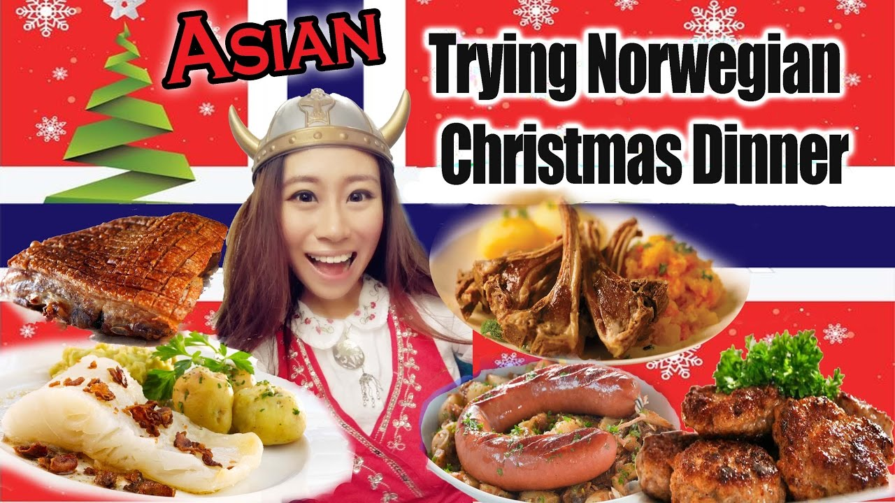 Norwegian Christmas.Asian Trying Norwegian Christmas Food 2