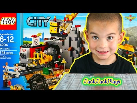 Lego City Mine Surprise Unboxing And Toy Playing: Crane, Diggers, Dump Truck, Train Car
