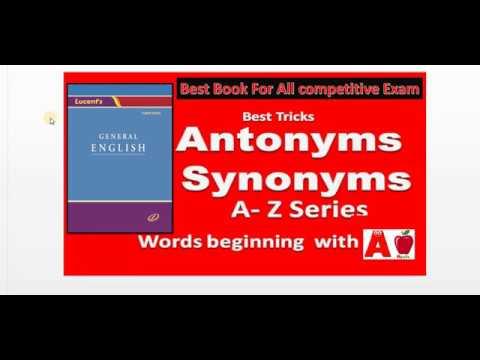 Lucent's General English Book  Synonyms  Alphabet A Part 1   Hindi Medium HIGH