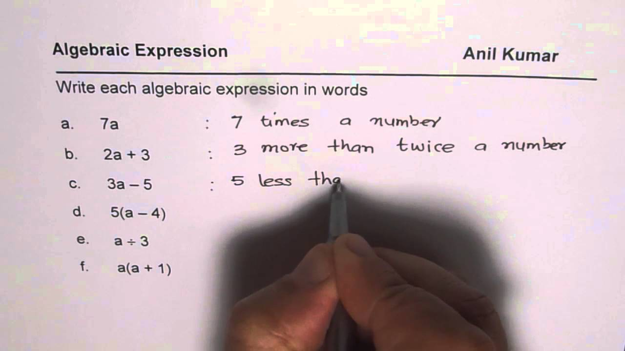 writing basic expressions with variables