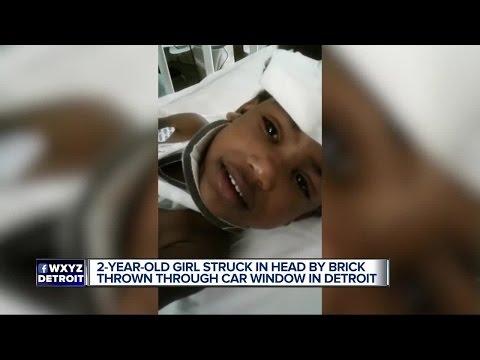 Brick thrown through vehicle window in Detroit, 2-year-old struck in head