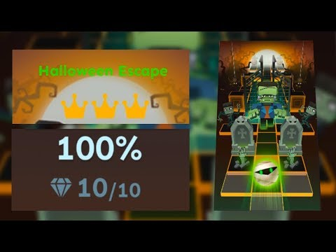 Rolling Sky Bonus lv.9 Halloween Escape 100% Clear - All Gems/Crowns | SHA