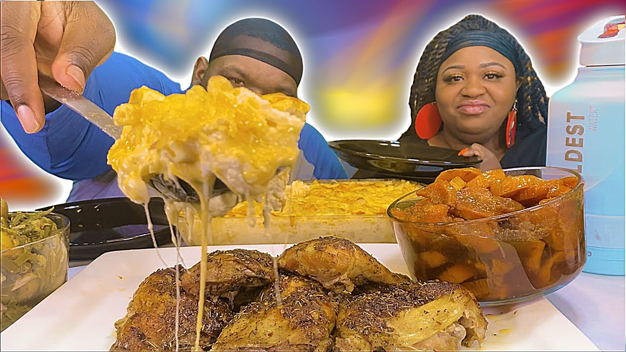 SOMEBODY GETS A PIE IN THE FACE! | SOUL FOOD MUKBANG | BAKED CHICKEN + MAC AND CHEESE + CANDIED YAMS