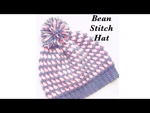 Crochet Bean Stitch Adult Beanie Winter Hat In Two Colors Easy To