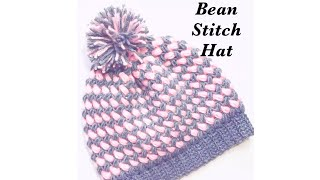 Crochet Bean stitch adult beanie hat in two colors easy to make #115