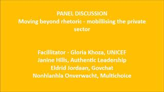 Panel discussion   Moving beyond rhetoric   mobilizing the private sector
