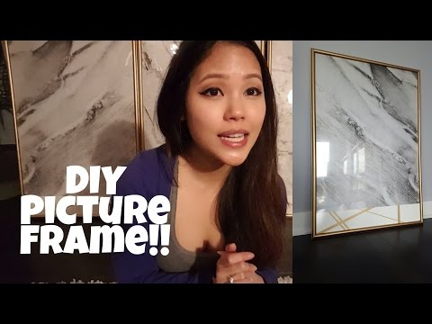 DIY picture frame! Marble/Gold wall art