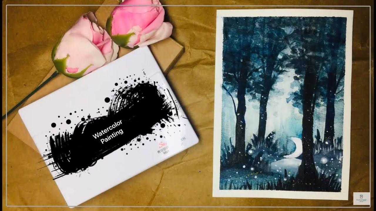 Hướng dẫn vẽ tranh phong cảnh bằng màu nước   Watercolor Tutorial  MinArt