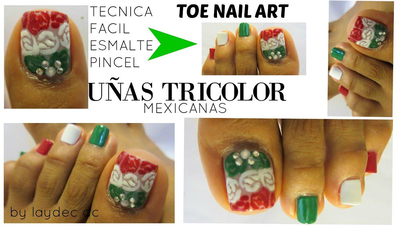 Uñas tricolor mexicanas diseño de los pies /Mexican design toe nail ...