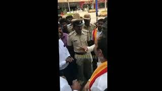 Bahubali Trailer Plays During Vatal Nagaraj Protest at PVR Phoenix market city at Mahadevapura.