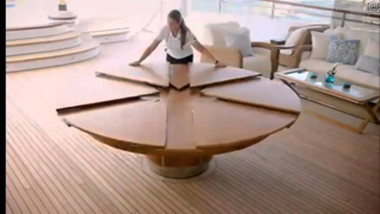 Incroyable expandable round dining table youtube for Table qui se deplie