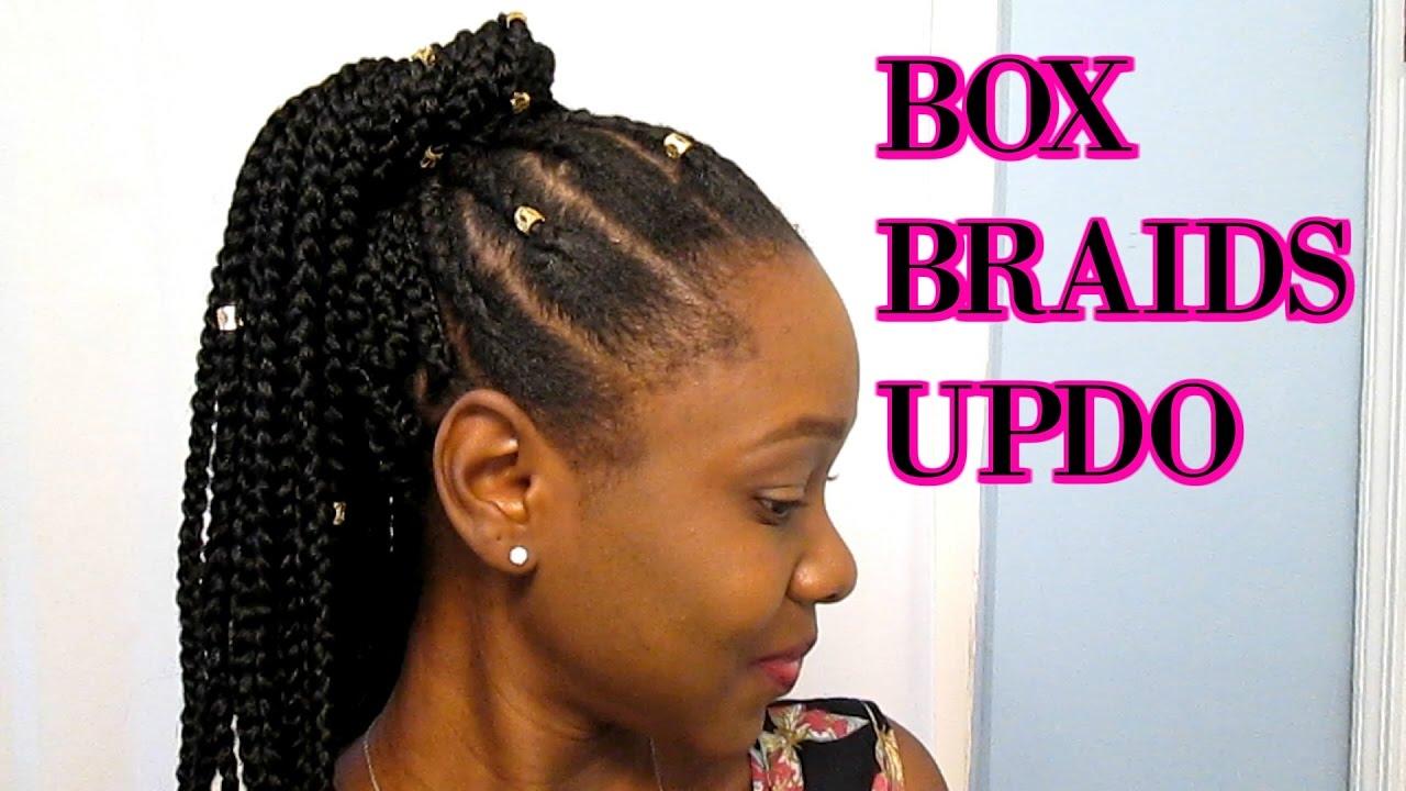 Box Braids Crochet Updo On Short Natural 4c Hair Youtube