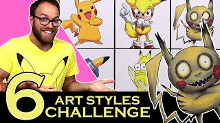 Drawing in 6 DIFFERENT STYLES..? | Art Styles SWAP CHALLENGE | Pikachu