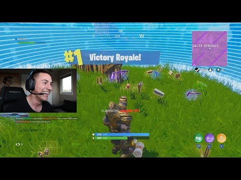 MY FIRST VICTORY WITH THANOS IN FORTNITE: BATTLE ROYALE!