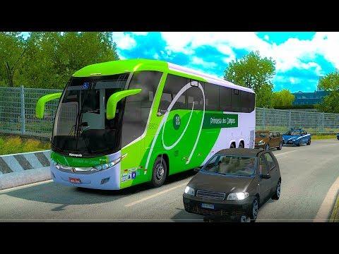 Marcopolo Volvo B420 bus on European road Verona to Nice Ets2 1.34
