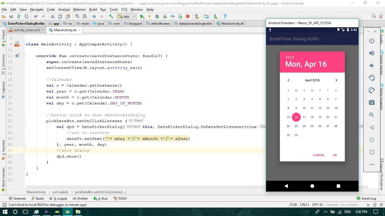 DatePicker Dialog (Kotlin) - Android Studio Tutorial