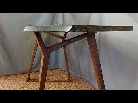 Стол из слэба мореного дуба с эпоксидной смолой 2 часть. Подробный процесс изготовления.