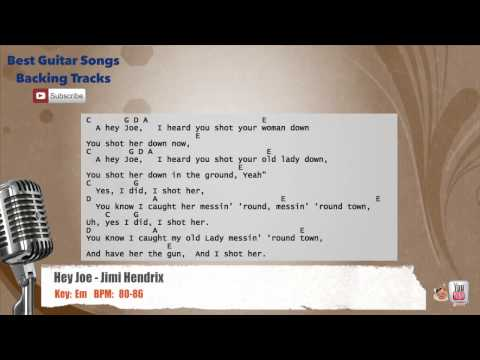 Hey Joe - Jimi Hendrix Vocal Backing Track with chords and l