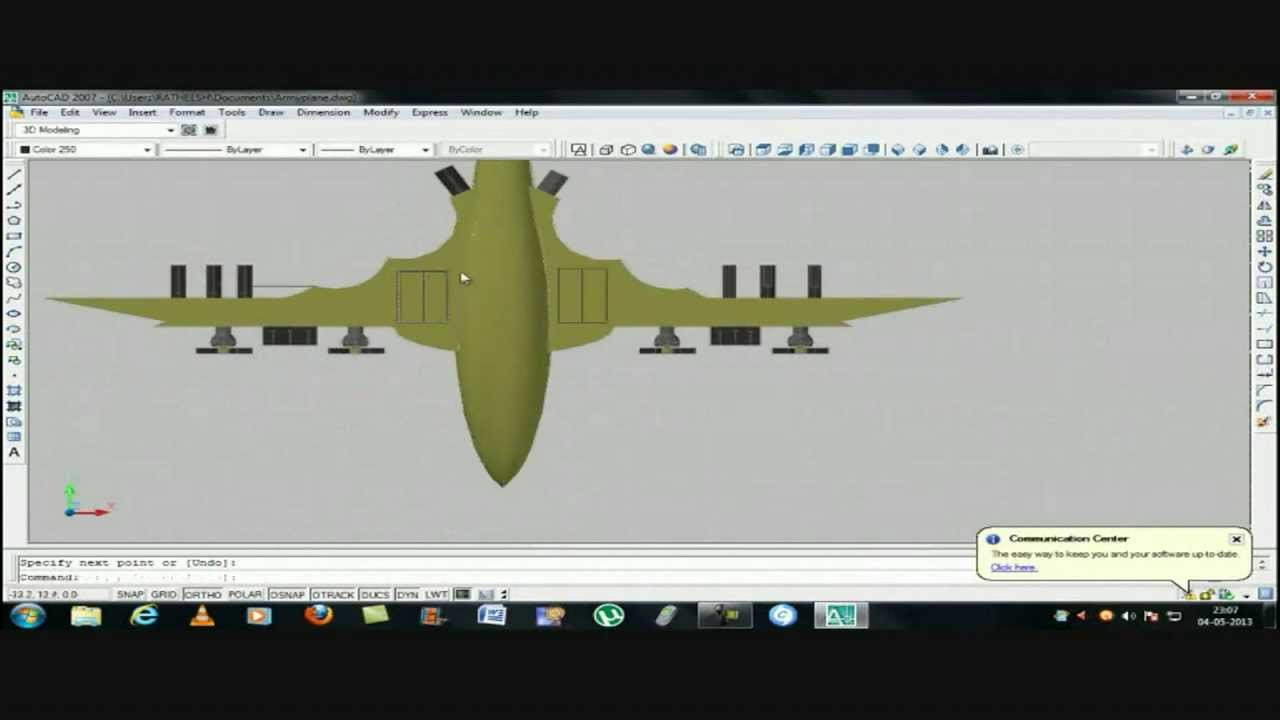 Perfect 10 Auto >> autoCAD 2007- How to Make a Army Plane - YouTube