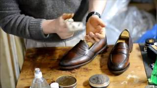ASMR How I condition and mirrorshine Patina Allen Edmonds Randolph penny loafers
